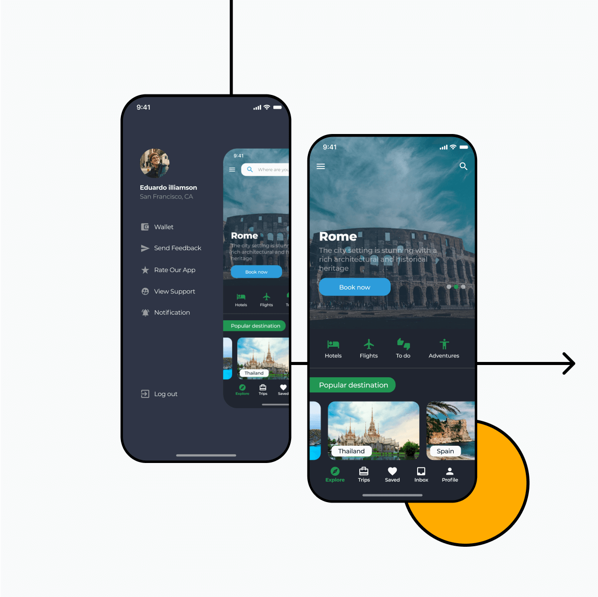 Itinerary app with locations