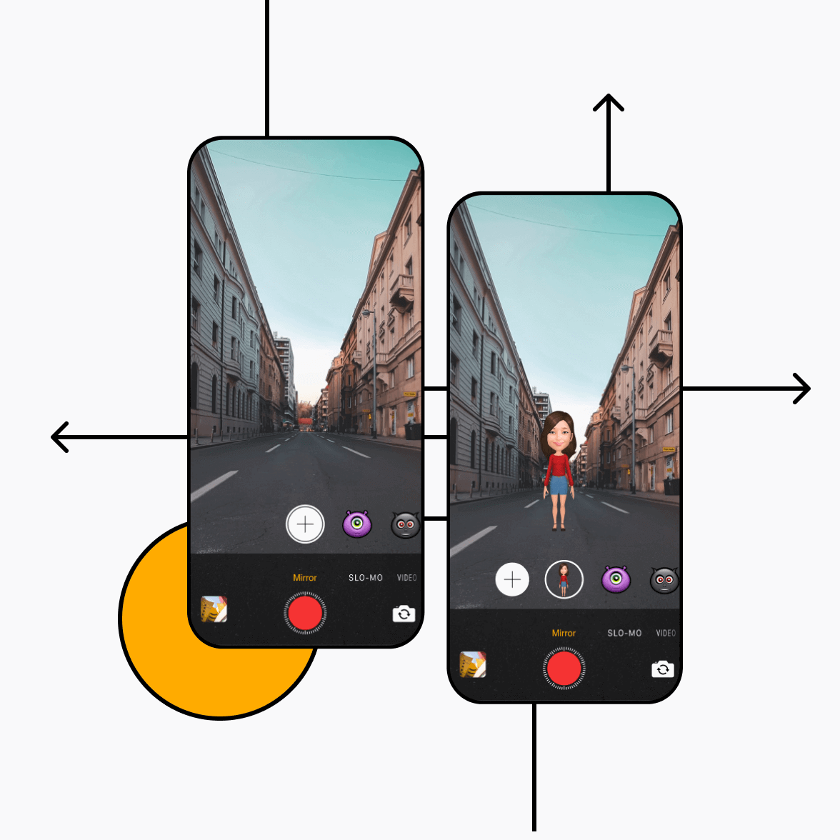 Augmented reality app screens