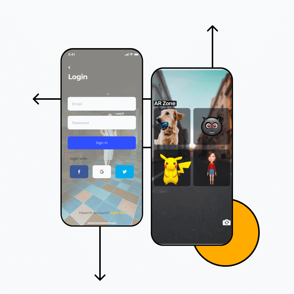 AR App login screen