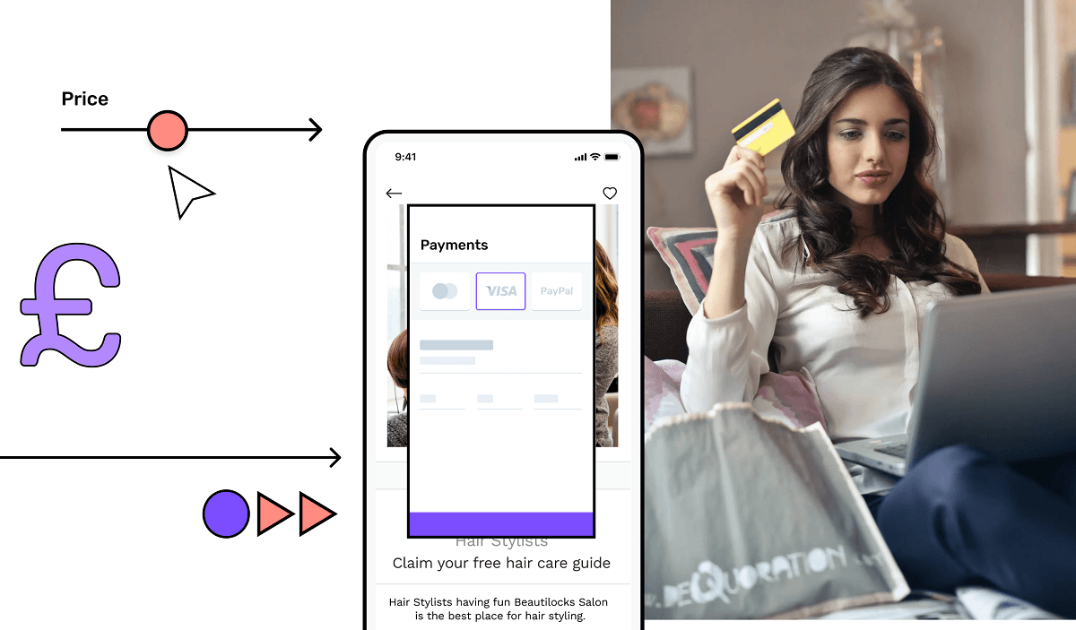 Mobile app screen with payment options having a customer on right side