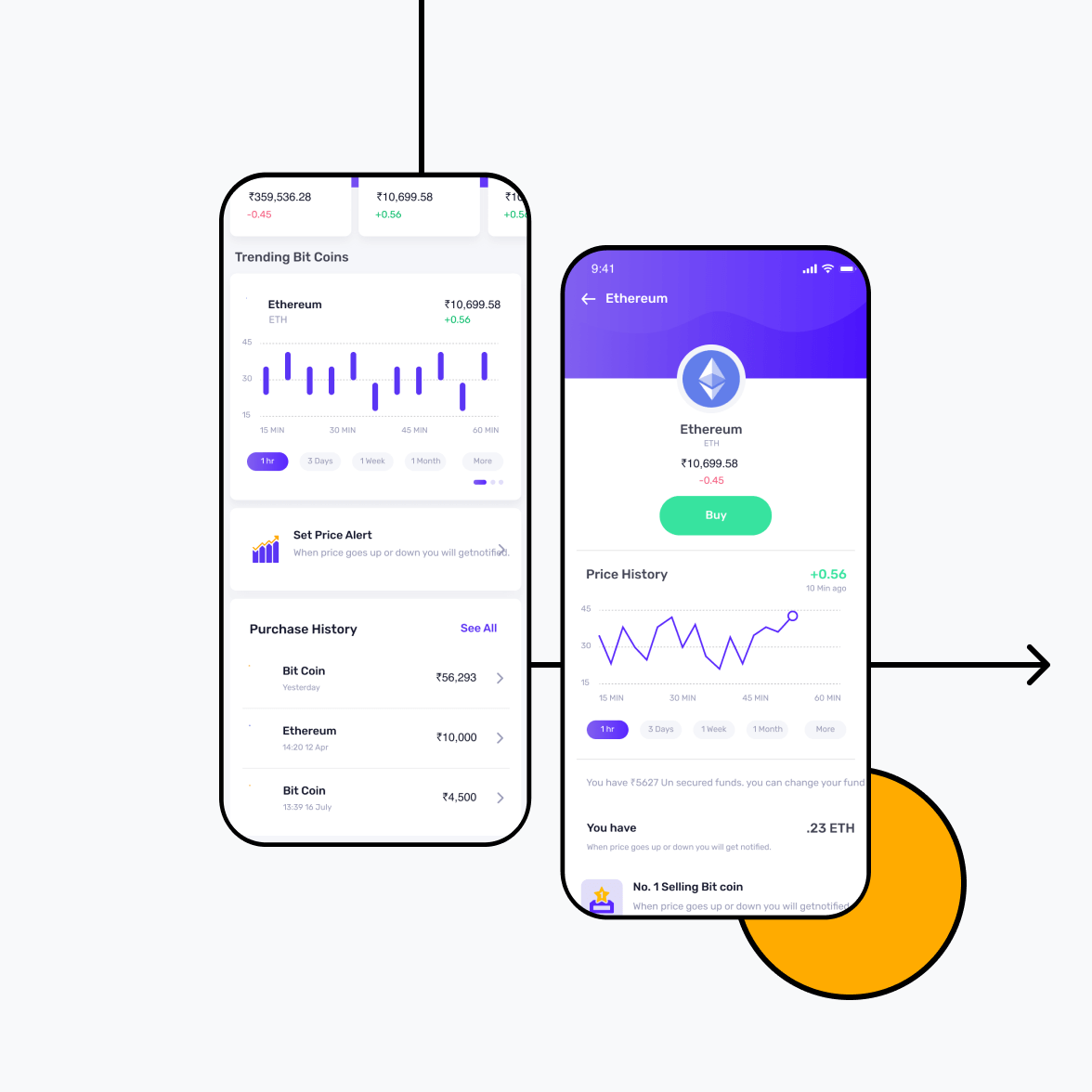 Cryptocurrency app screens - buy and trending