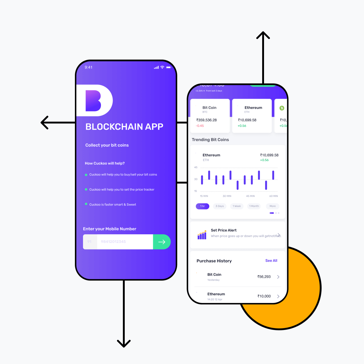 Blockchain app screens with signup and trending chart