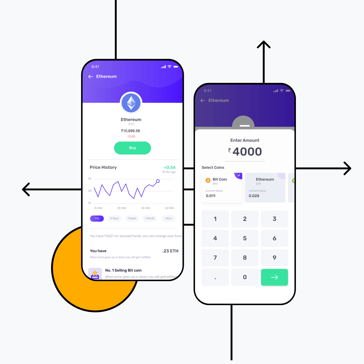 Blockchain app for cryptocurrency