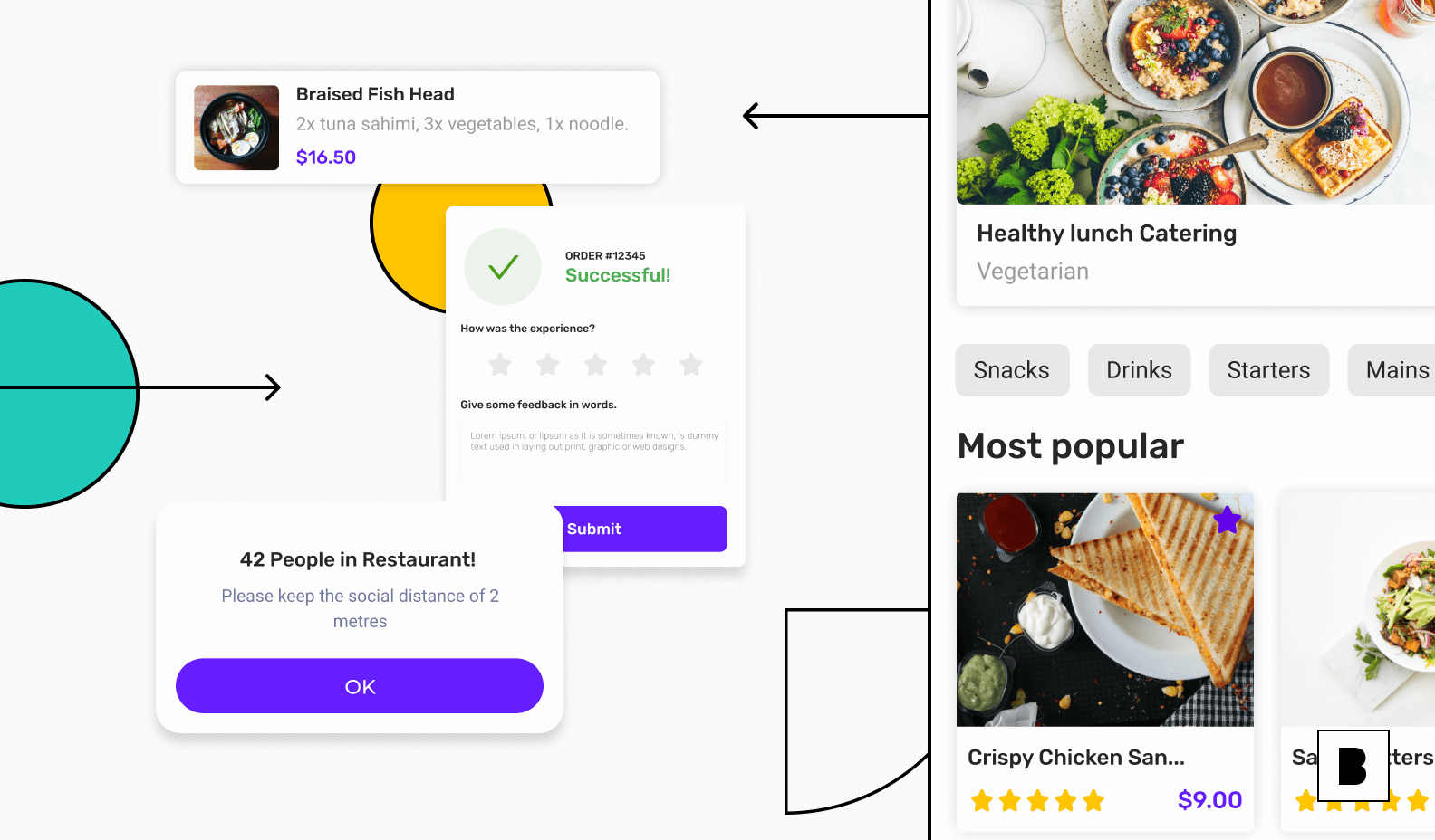 Food delivery app front end and backend illustration