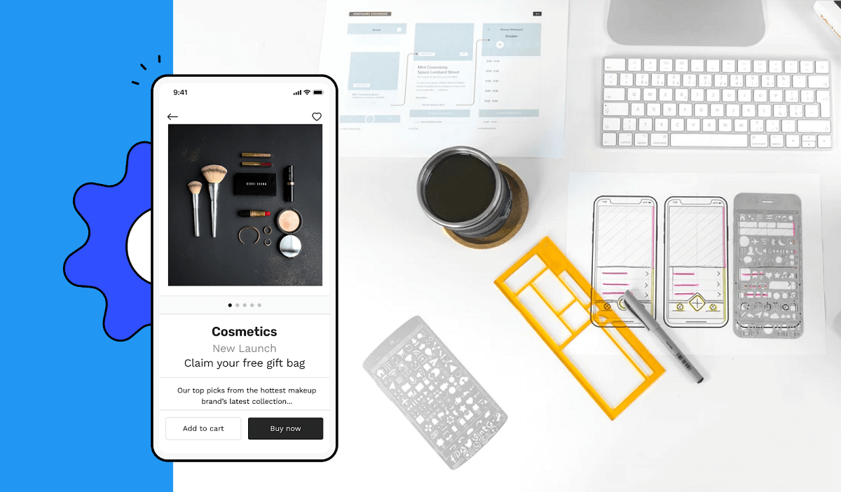 Ecommerce mobile app screen having design illustrations in background
