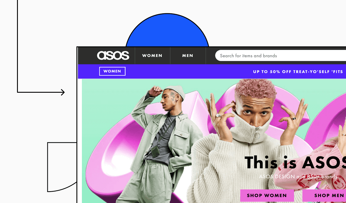 Asos website screen grabs with some design illustrations in background