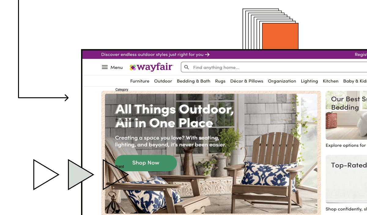 Wayfair website screen grab with design illustrations in background