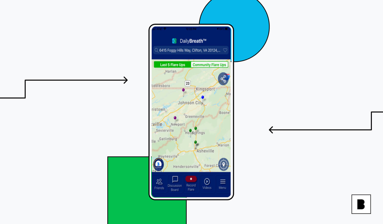 Daily Breath app screen with location map