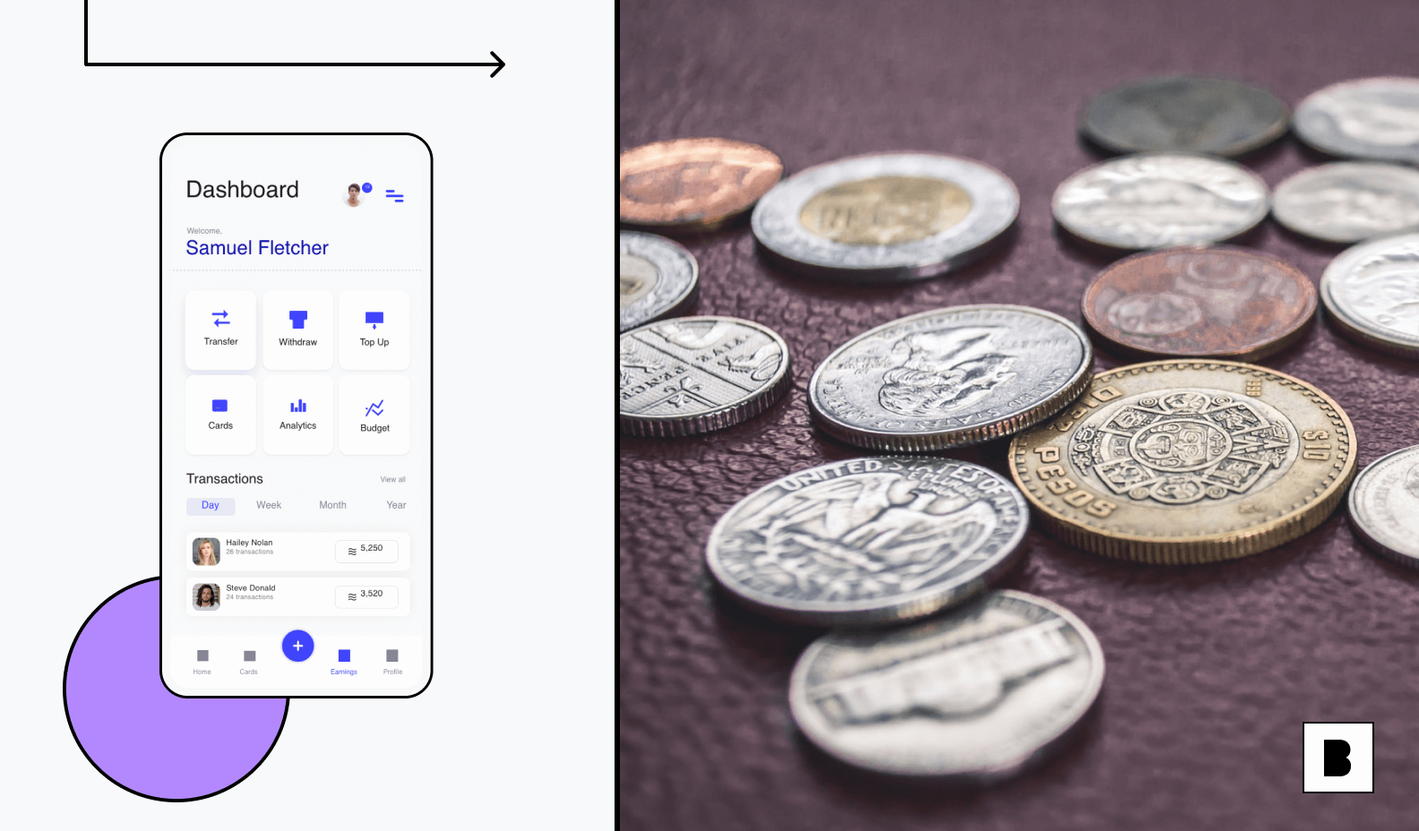 Mobile app dashboard for accounting purpose with coins in side