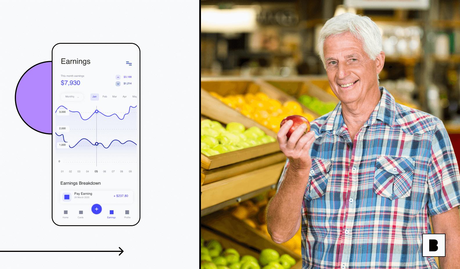 Mobile app screen for customer management having earning graph