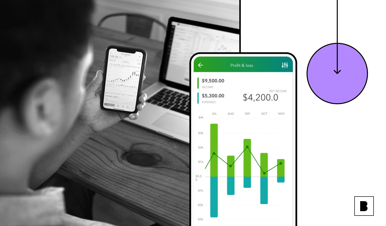 App screen with revenue dashboard