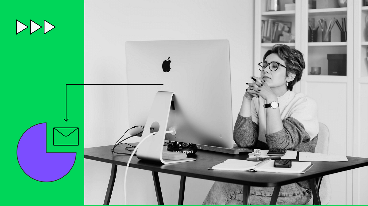 A woman working on mac being in thinking posture