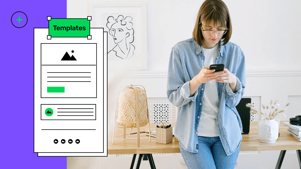 Email template illustration with a lady reading email on mobile phone
