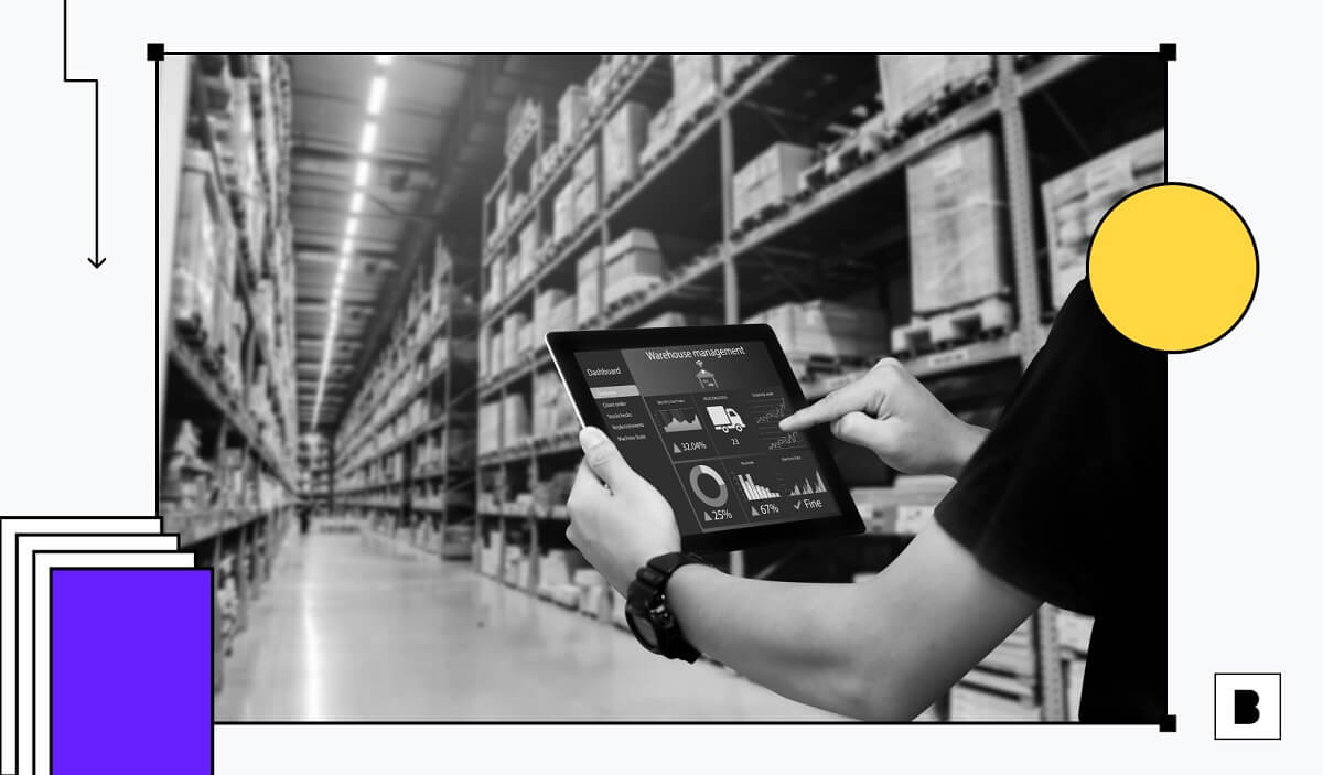 A working man in warehouse having tablet in his hand