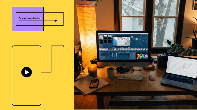 A desktop based video editing software open on mac desktop with illustrations