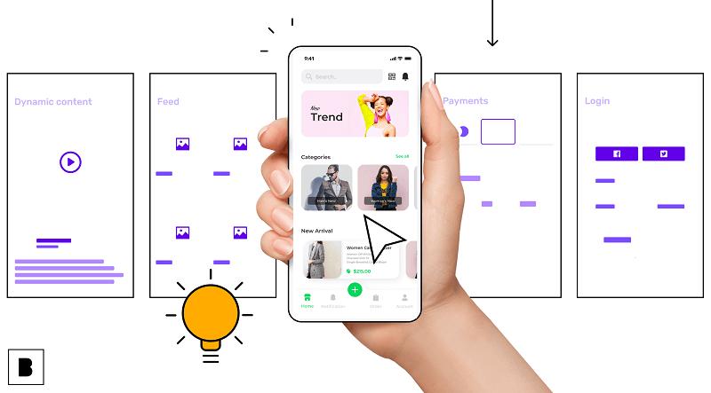 App development illustration with a no-code app builder