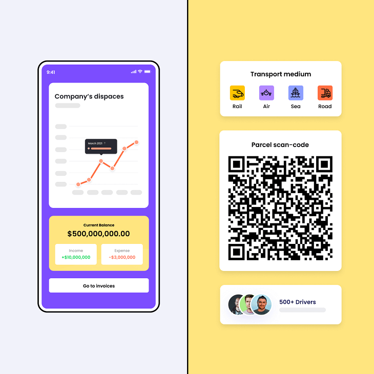 Logistics mobile app screen with QR code and logistics icons