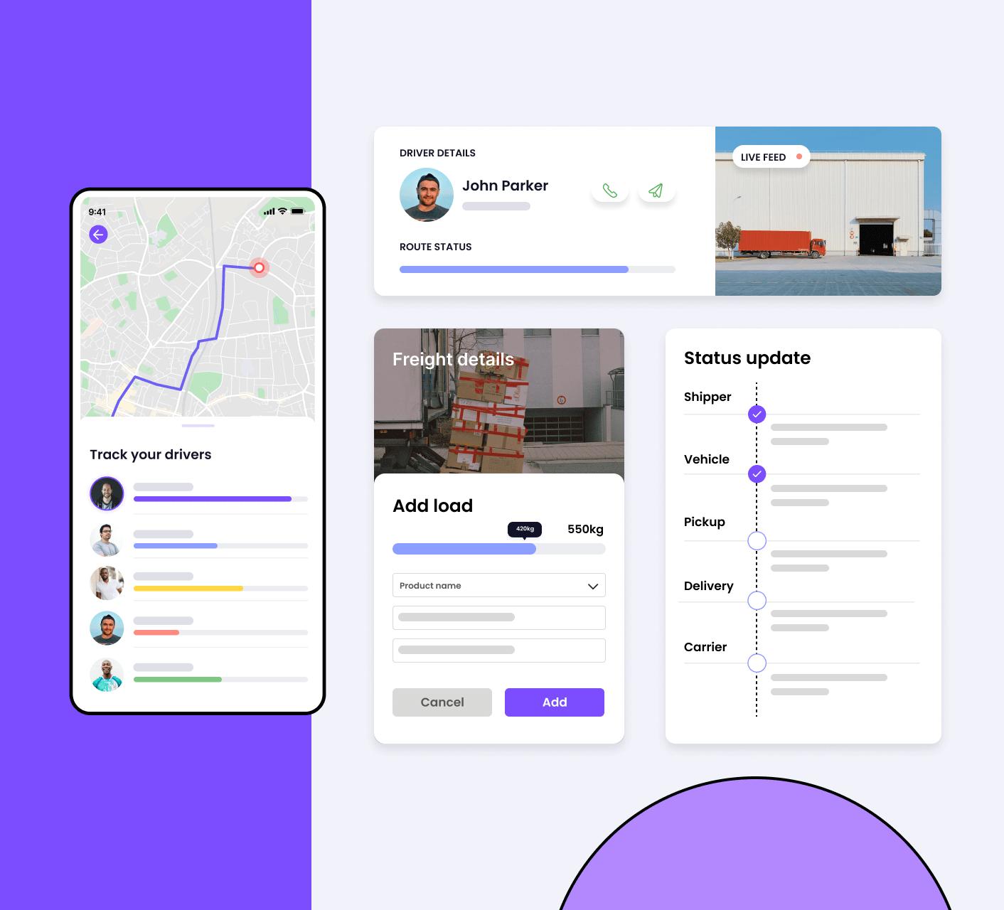 Logistics app screens