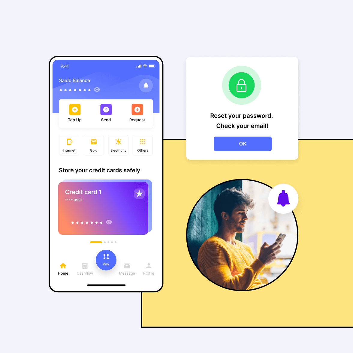 Fintech app screen with a mobile phone user