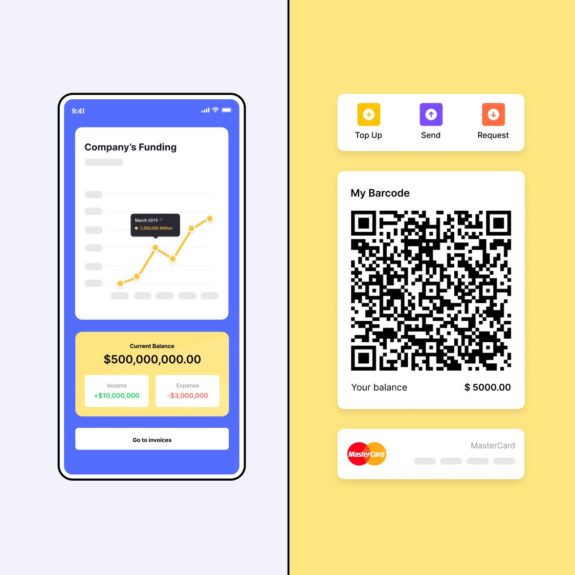 Fintech mobile app screen with a QR code