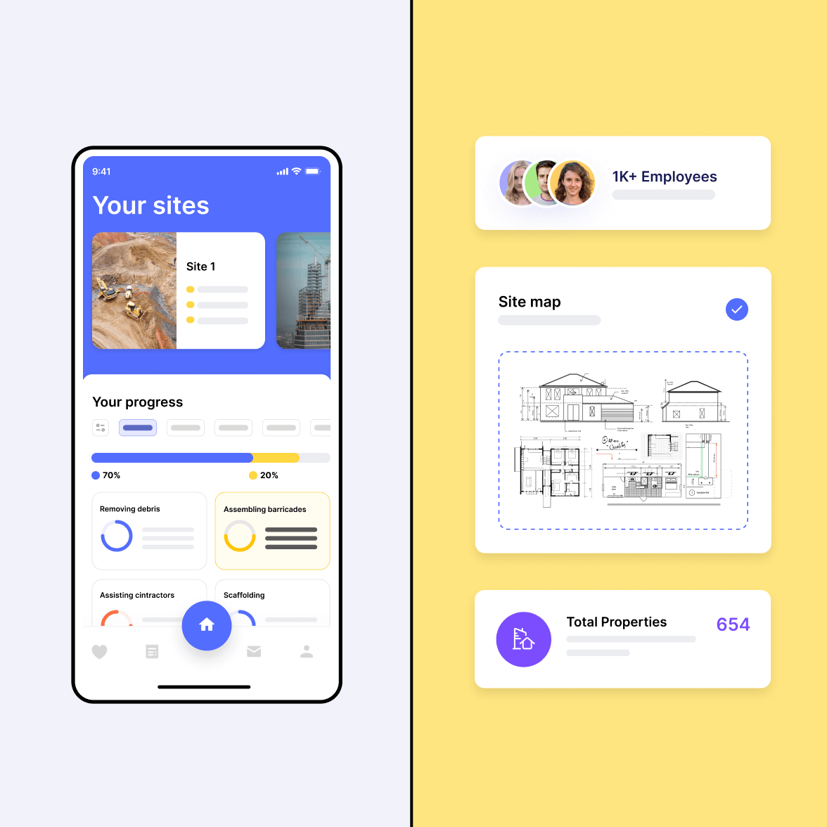 Construction management app screen with site layout
