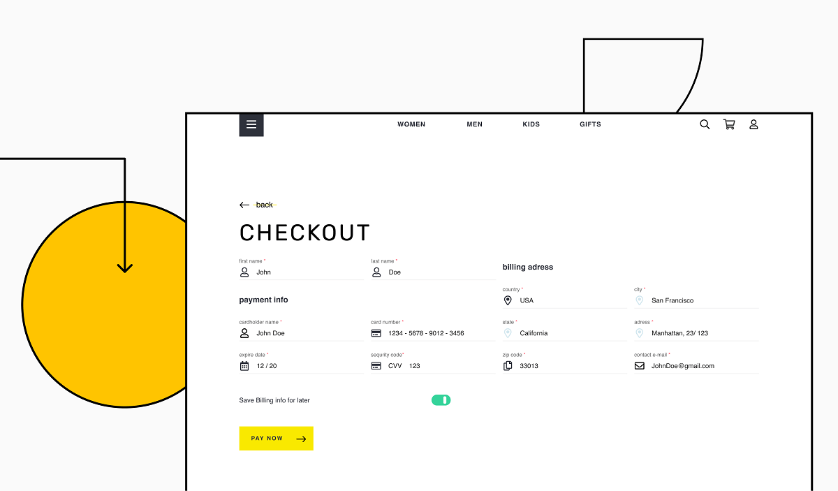Checkout page screen for ecommerce website