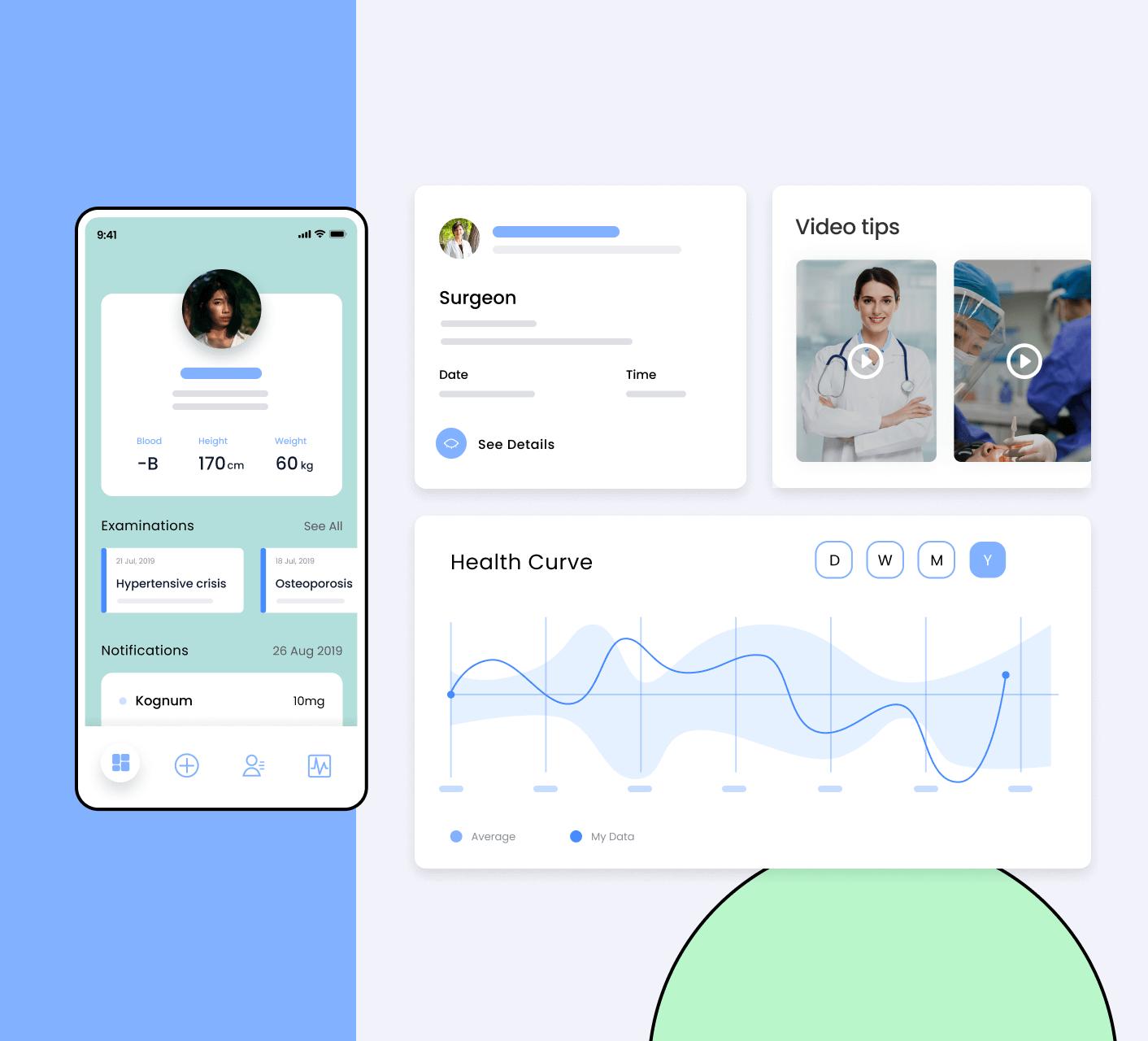healthcare software screens (desktop and mobile)