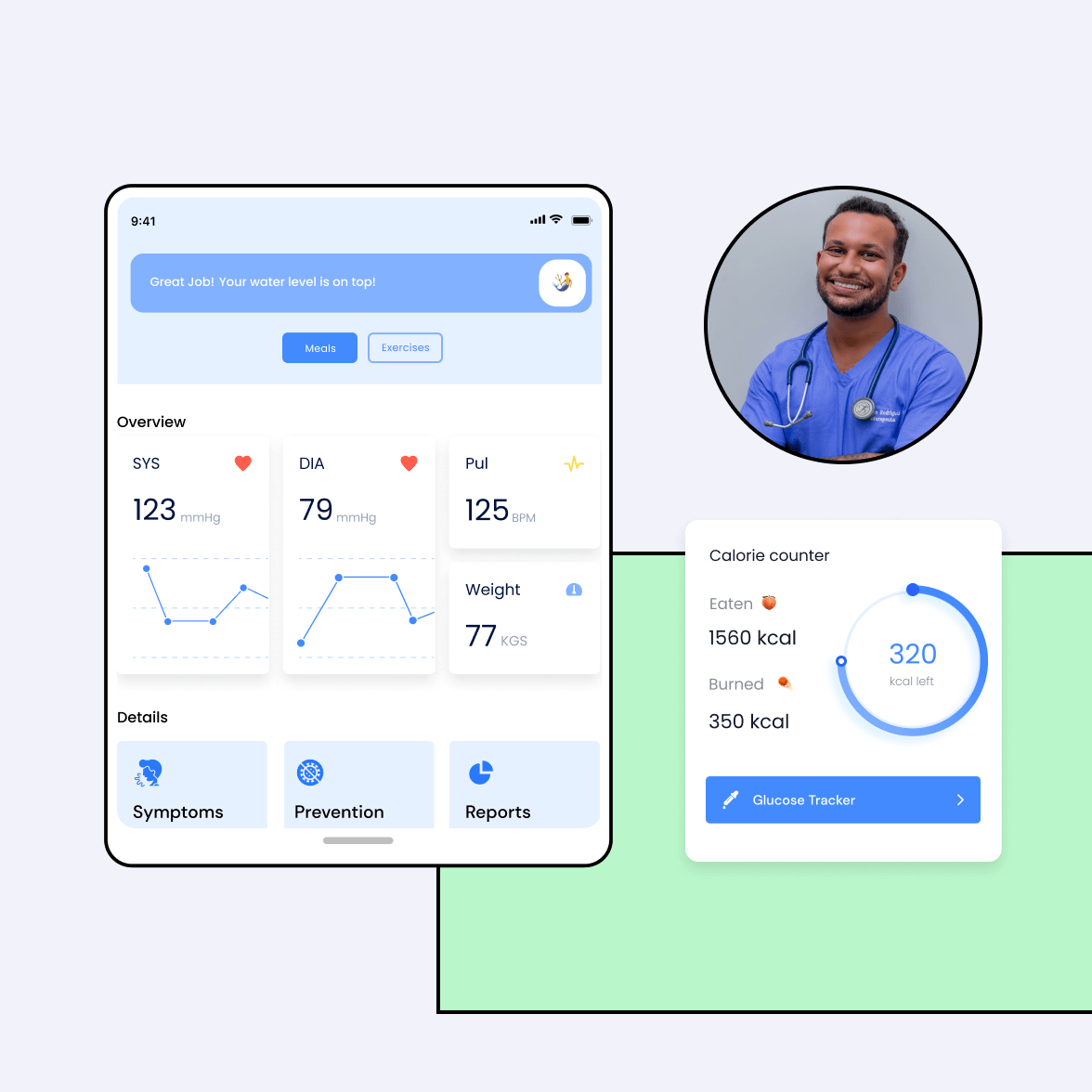 Healthcare software system screens with a doctor