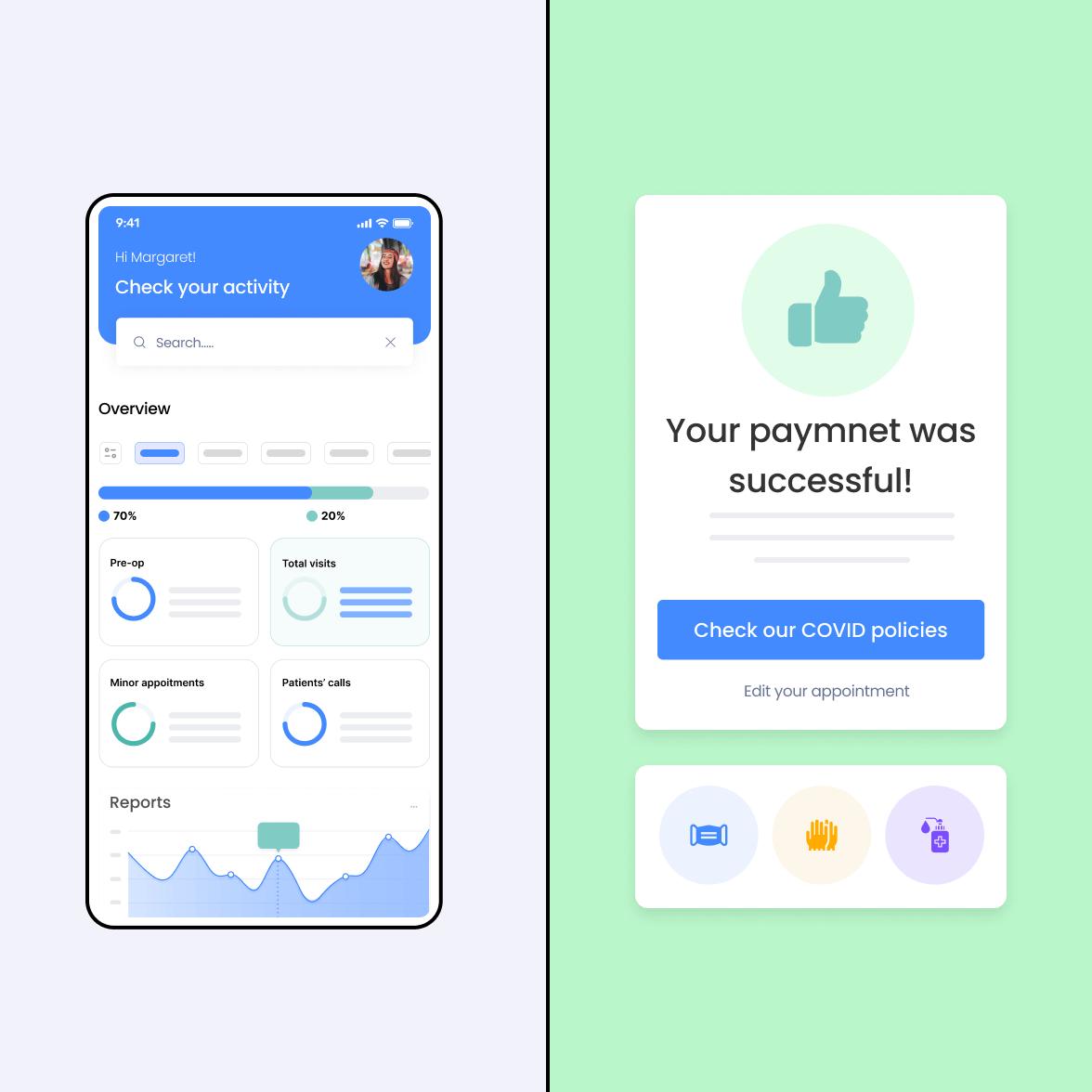 Healthcare mobile app screens