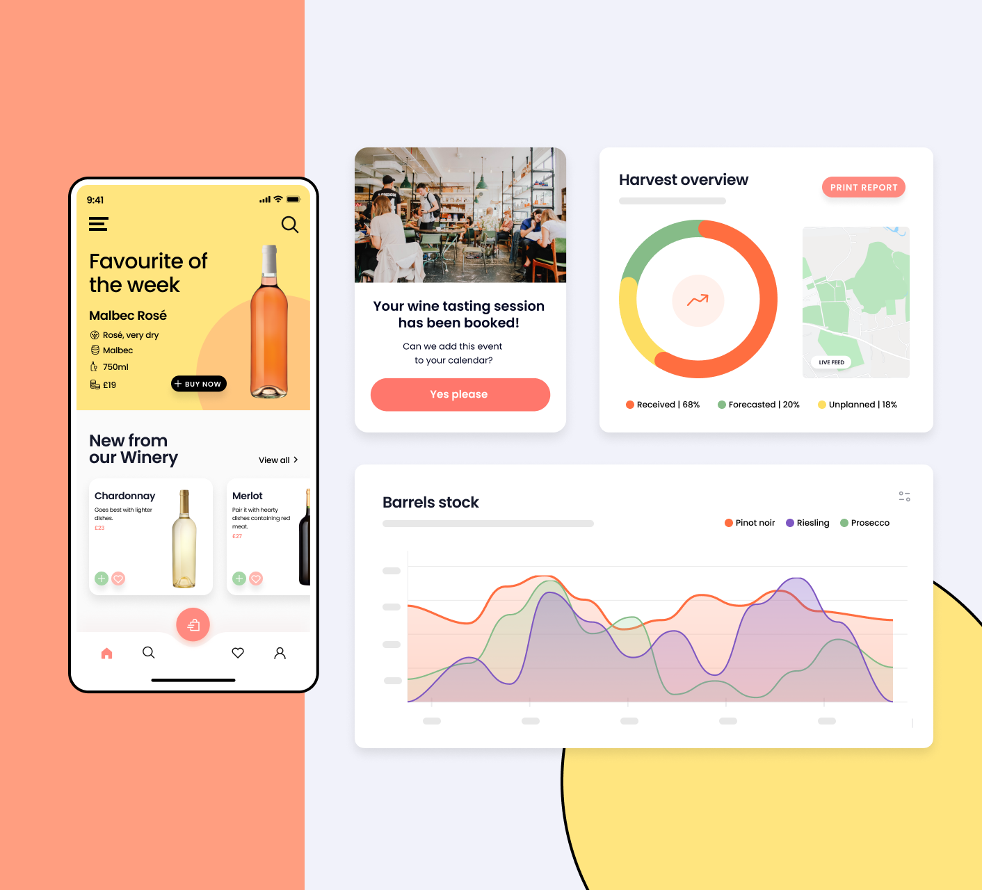 Wine industry software app screens (desktop and mobile)