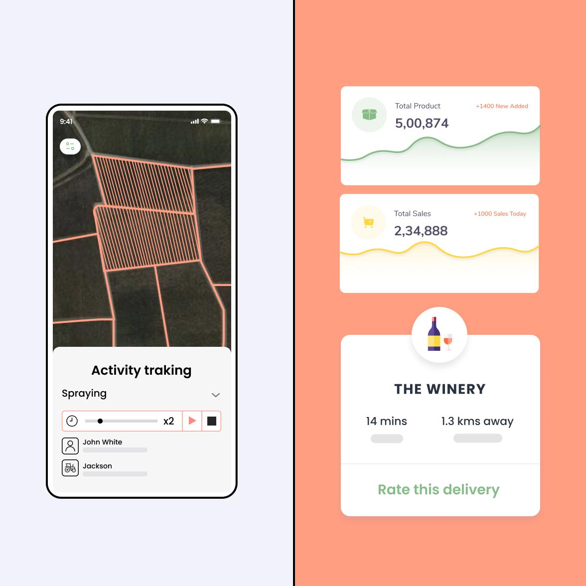 Wine industry mobile app screens