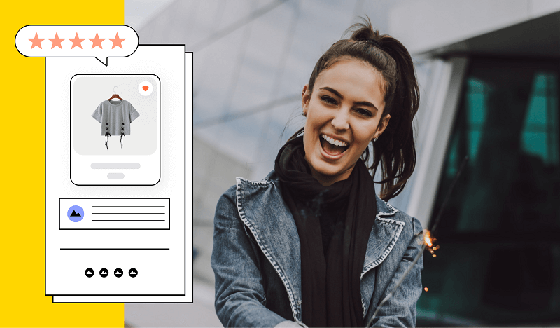 A mobile app illustration for ecommerce with a happy customer in the background