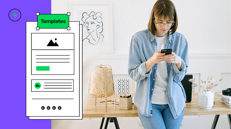 Mobile app template with a lady using her mobile