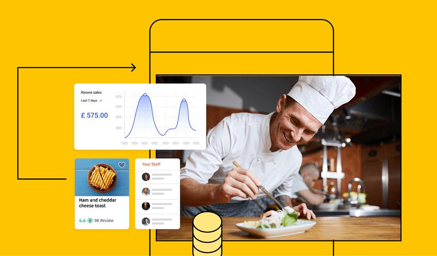 A chef having mobile app screens