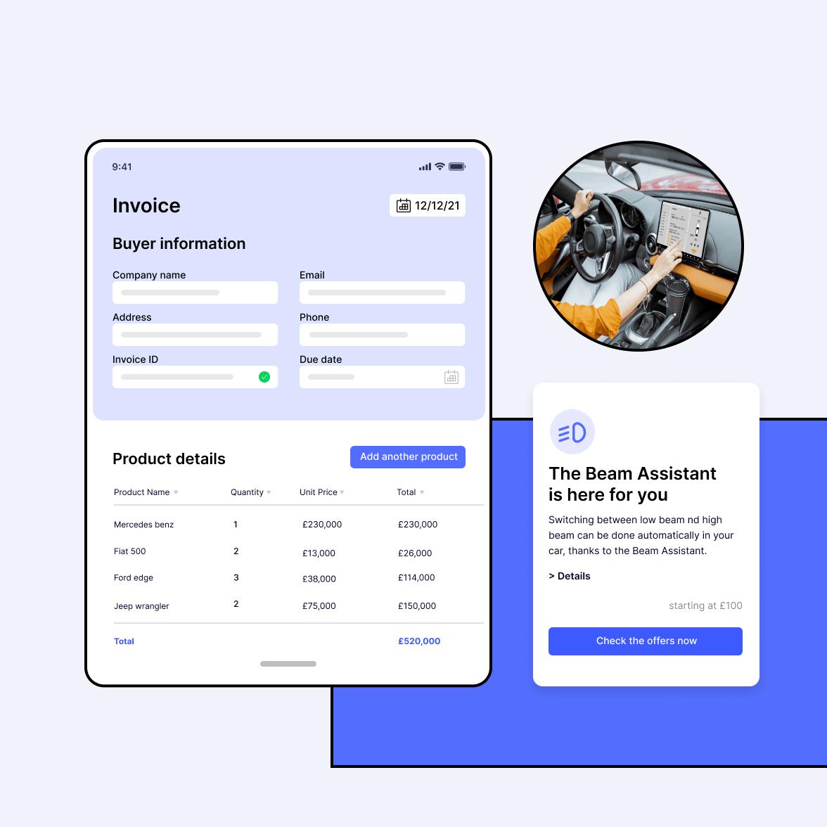 Automotive industry app screen