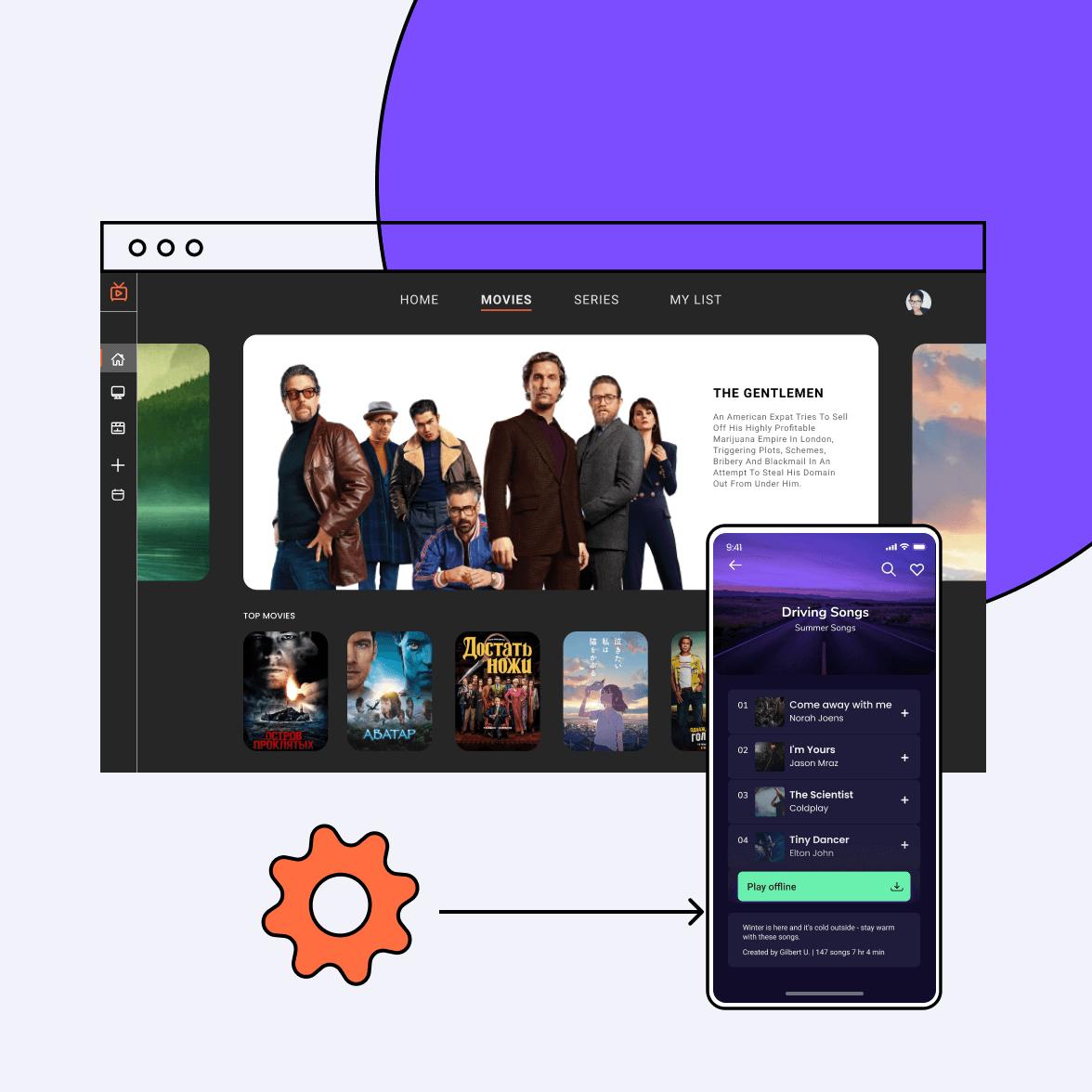 Ott platform screens for mobile and desktop