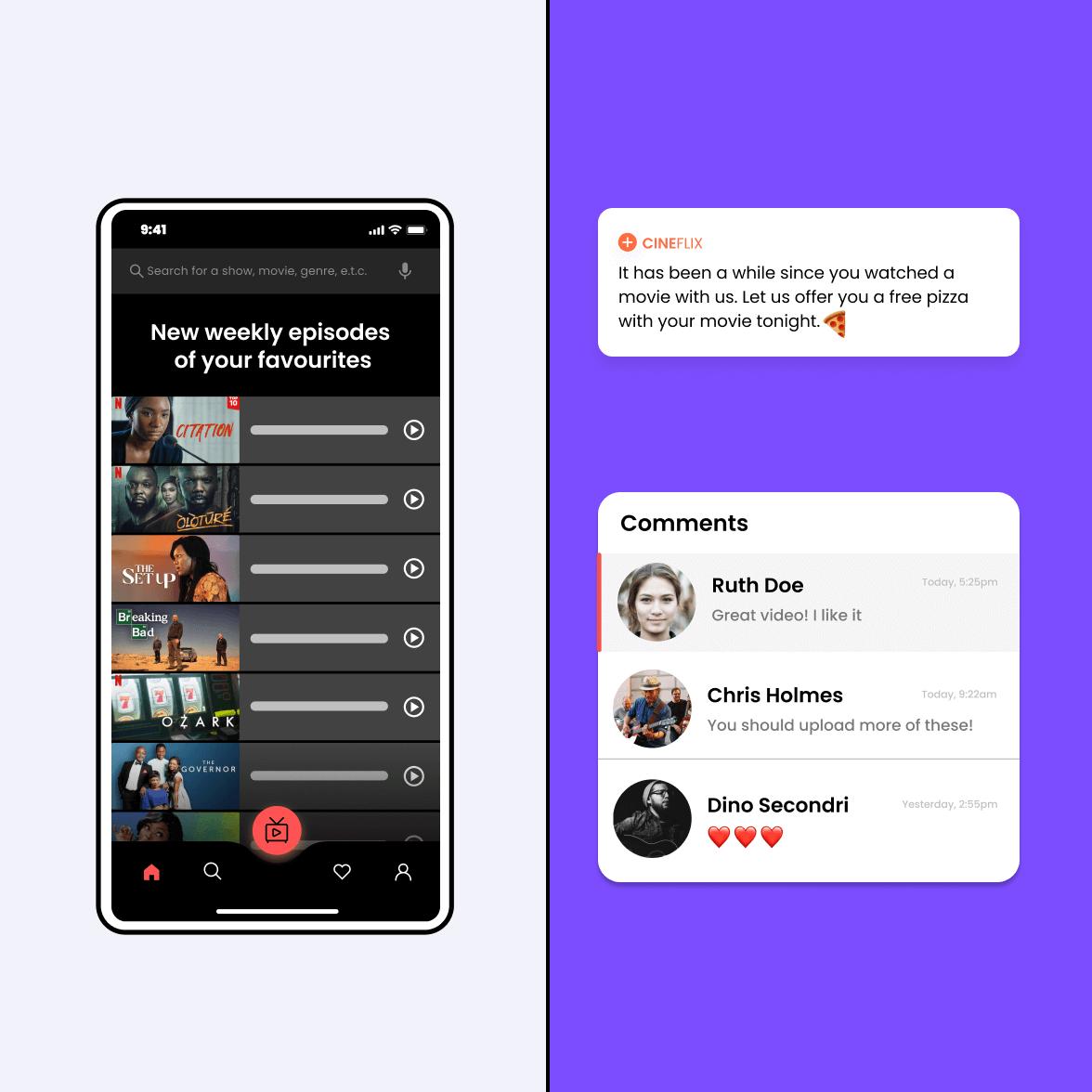 Music streaming app screen
