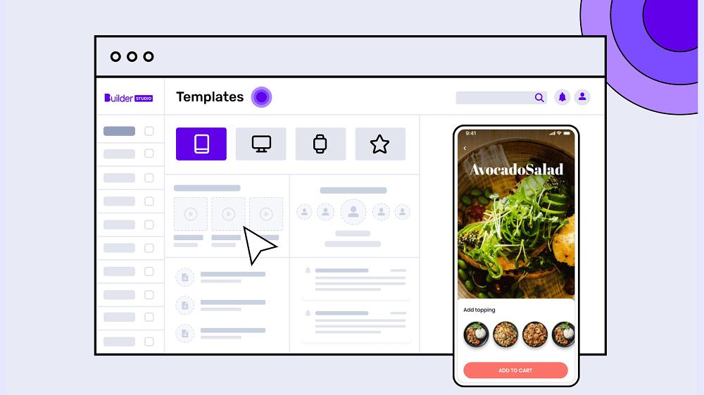 Mobile app development illustration with Builder Studio