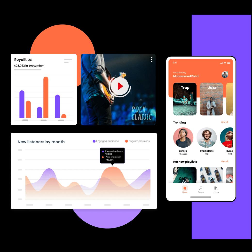 Entertainment industry app screens