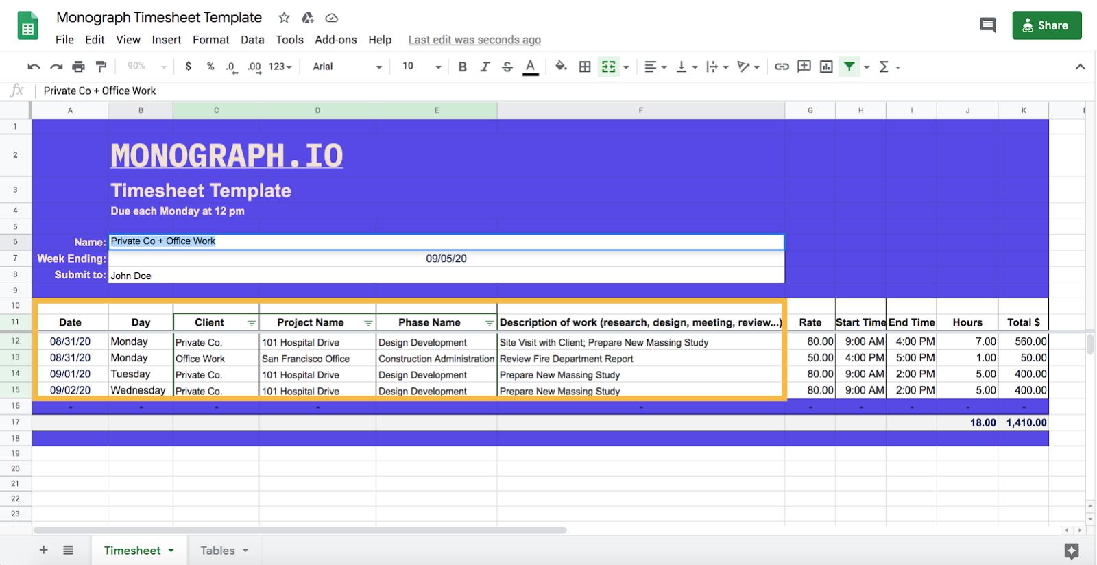 architect timesheet template information