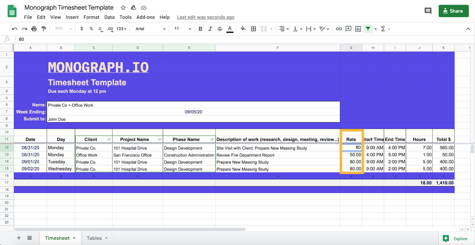 free architect timesheet template billing-rate