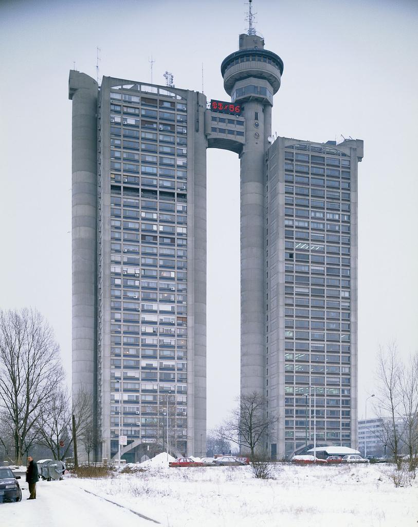 Western city gate / Genex Tower in winter, mihajlo Mitrovic