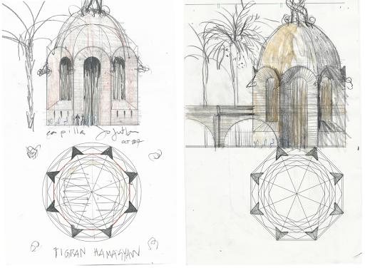 Schematic Design Sketches of Capilla de la Santa Cruz