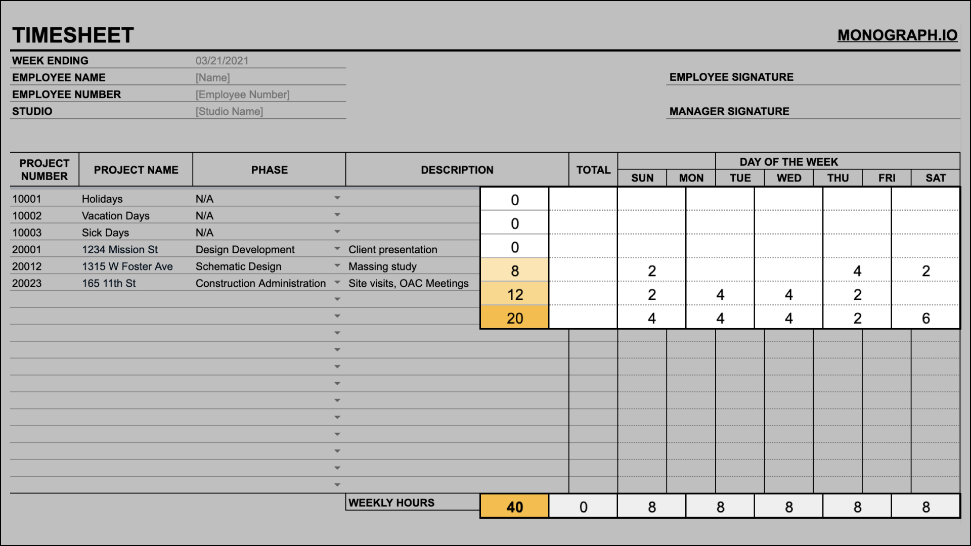 Input daily hours on timesheet template