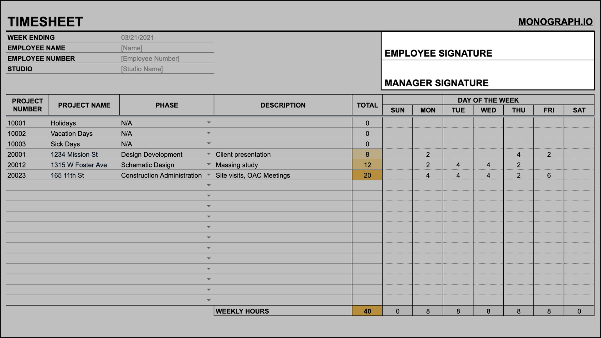 Simple timesheet template approval