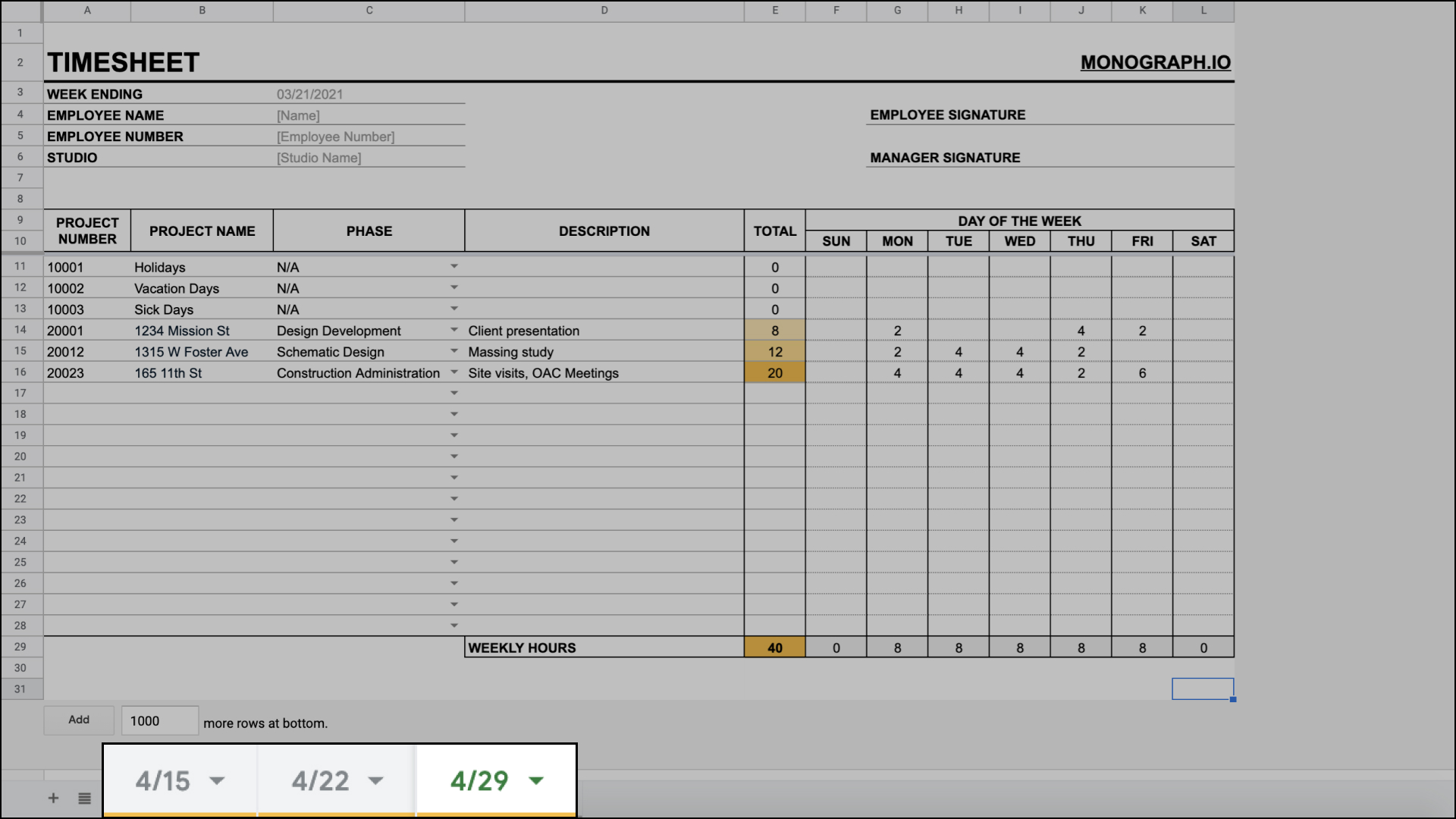 Duplicate timecard for architects