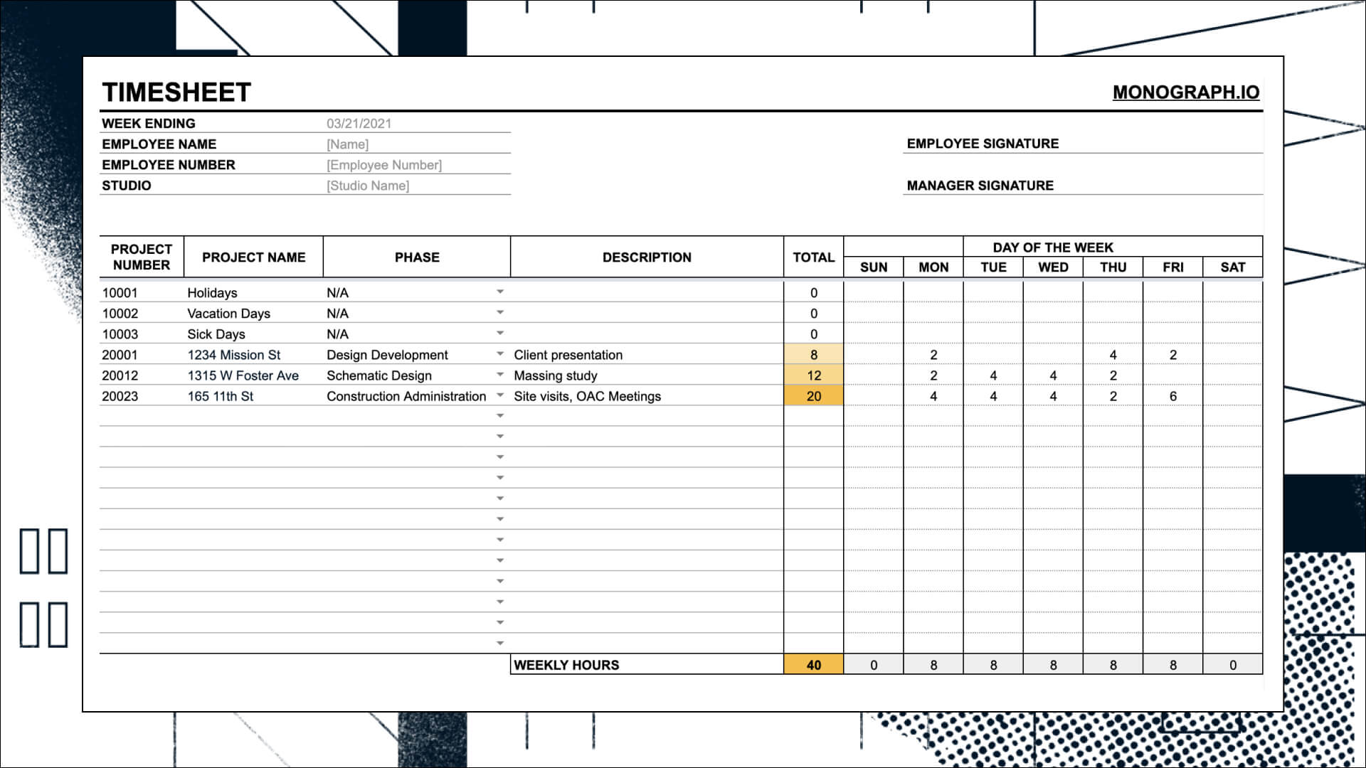 Timesheet Architecture Template