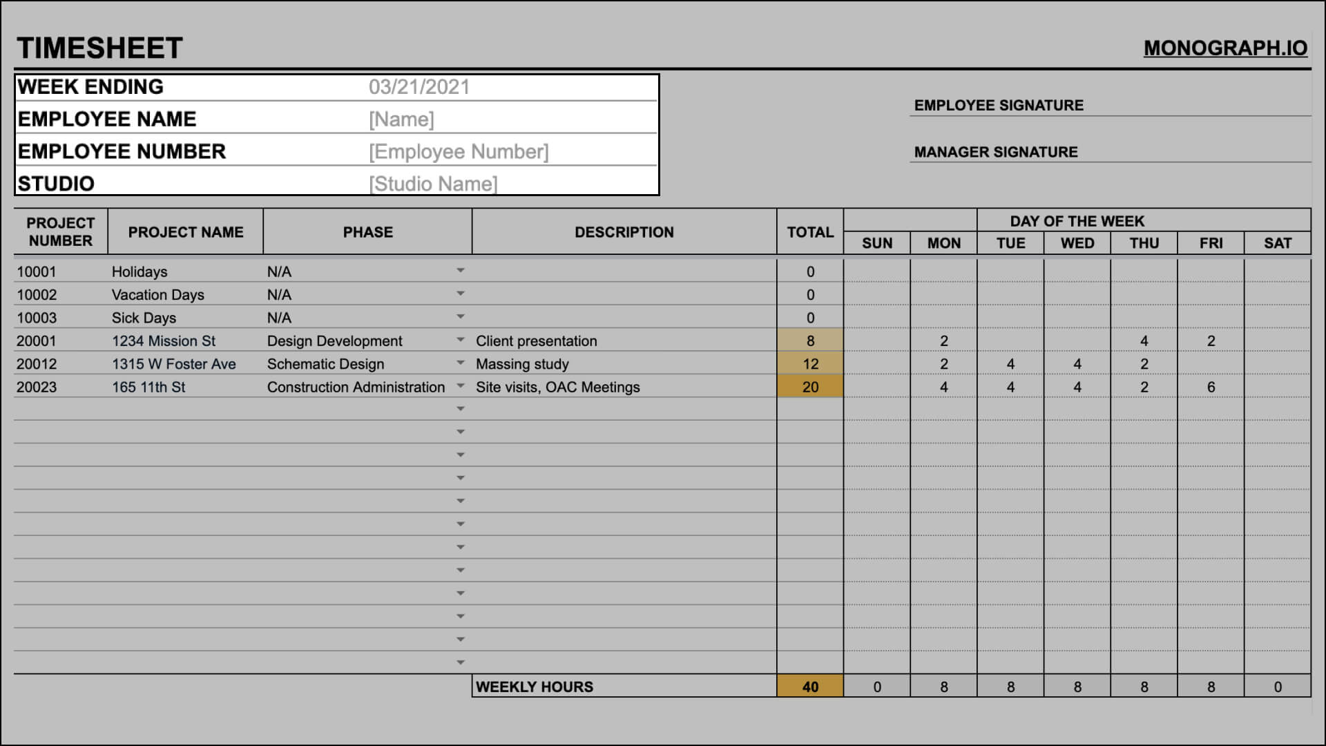 Fill in information in architecture timesheet template