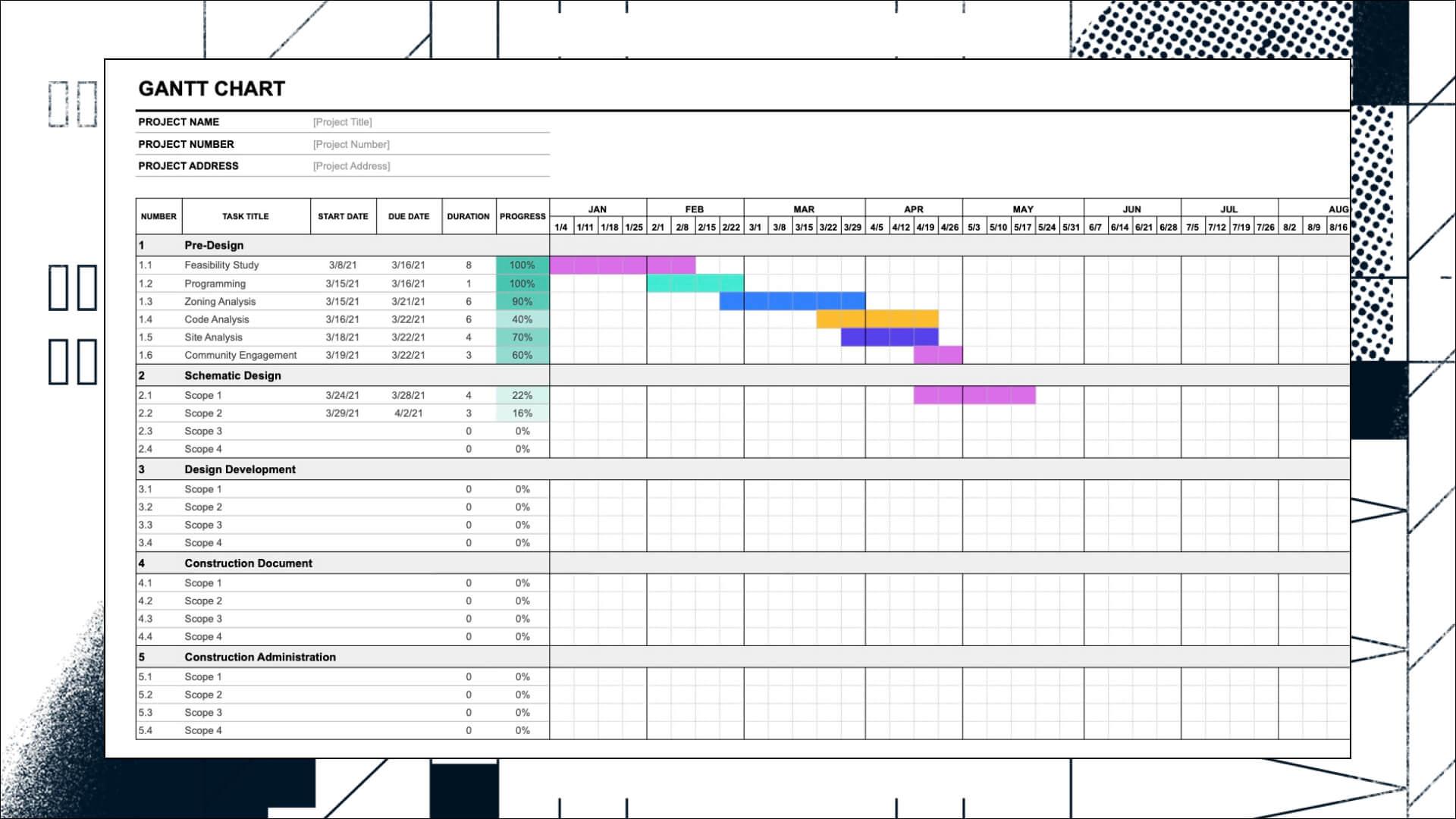 Gantt Chart Architecture Template