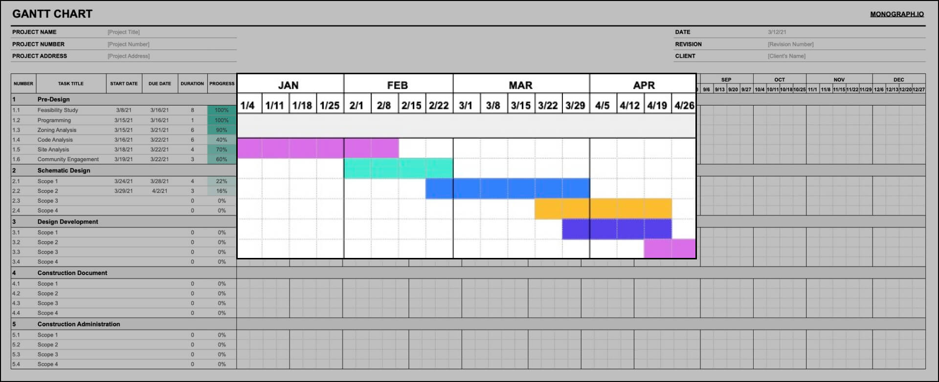 Fill in Gantt Chart Timeline